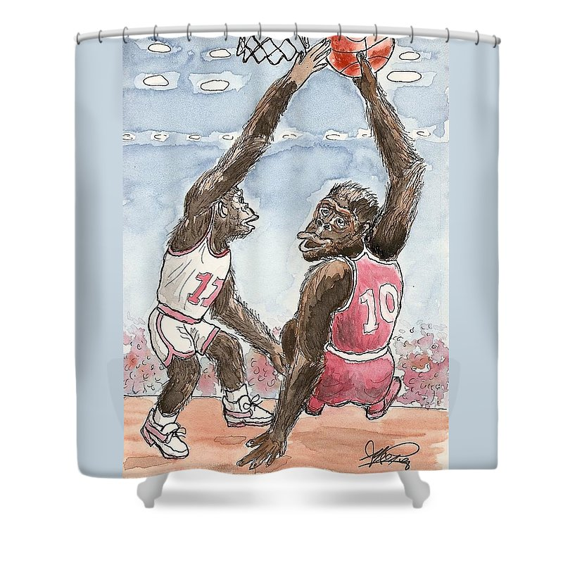 Basketbal Shower Curtain featuring the painting No No No by George I Perez