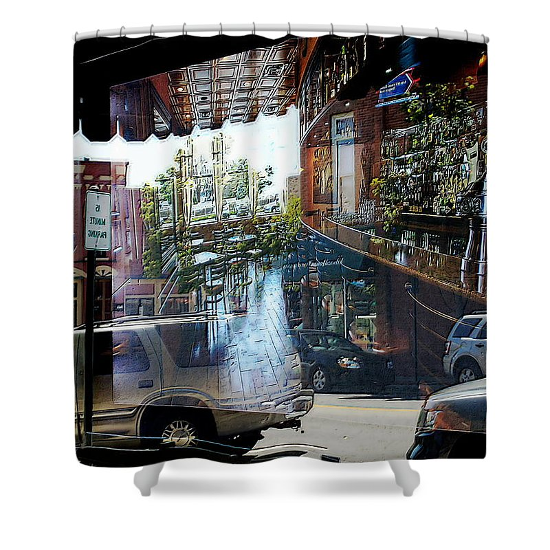 Blue Shower Curtain featuring the photograph No Parking In The Bar by David Rothbart