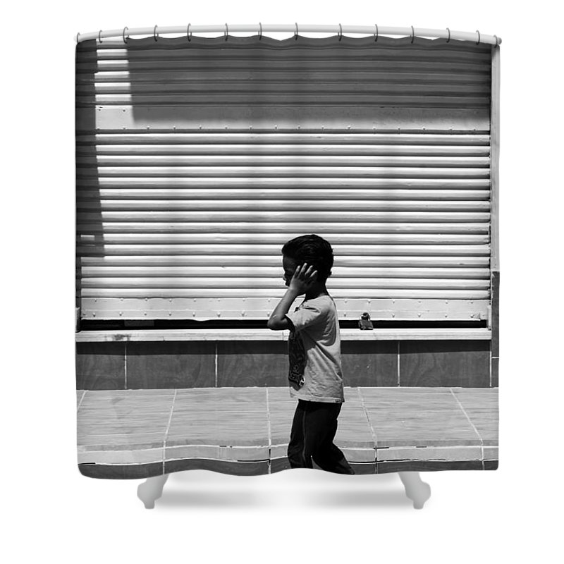 Hurghada Shower Curtain featuring the photograph No Phone No Need by Jez C Self