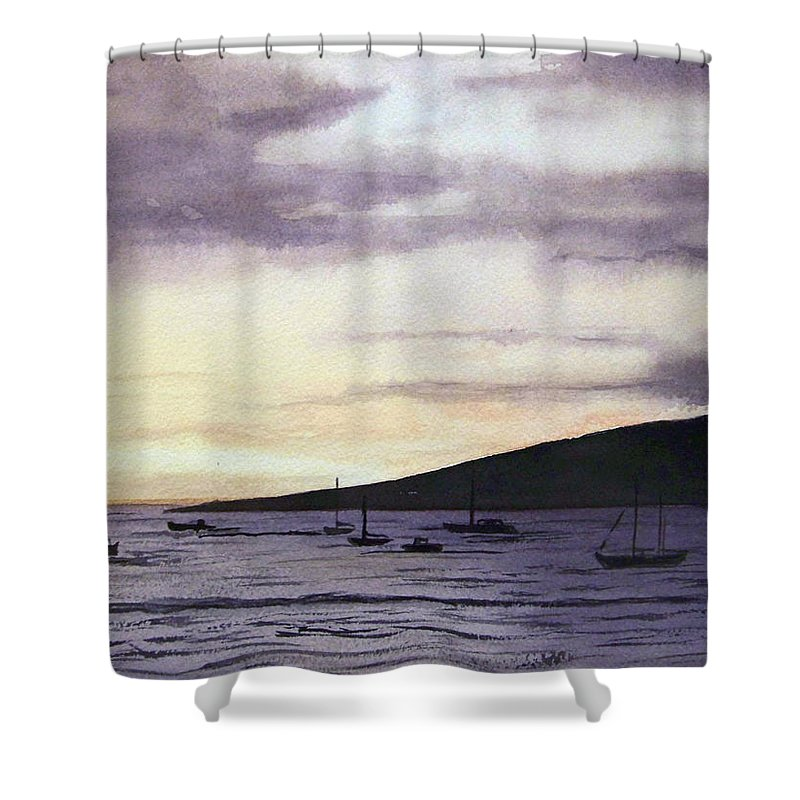 Seascape Shower Curtain featuring the painting No Safer Harbor Lahaina Hawaii by Brenda Owen