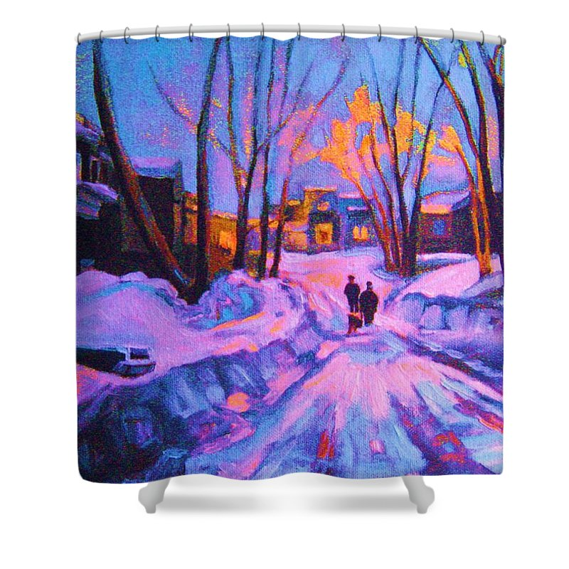 Winterscene Shower Curtain featuring the painting No Sidewalks by Carole Spandau
