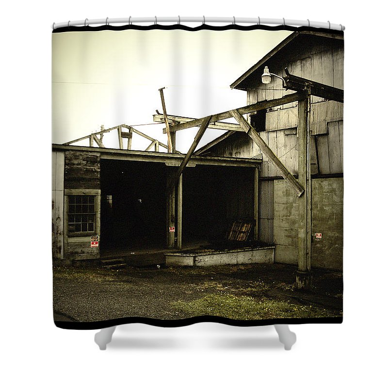Warehouse Shower Curtain featuring the photograph No Trespassing by Tim Nyberg