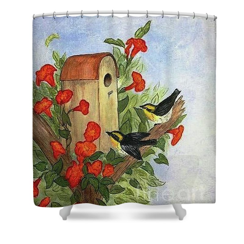Songbirds Shower Curtain featuring the painting No Vacancy by Jessie Lofland