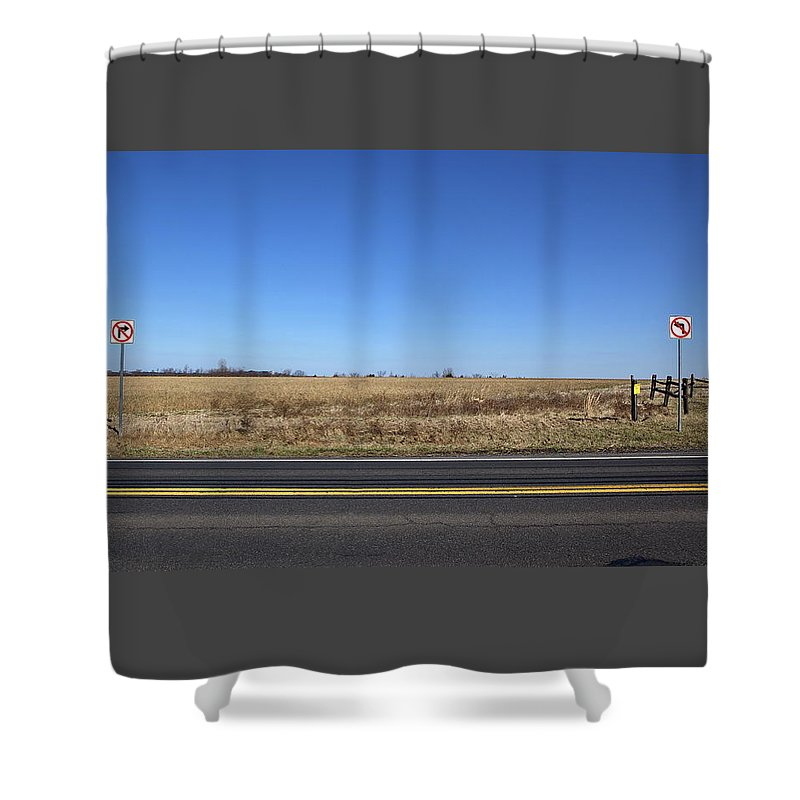 No Left Turn Shower Curtain featuring the photograph No Way by Leeon Pezok