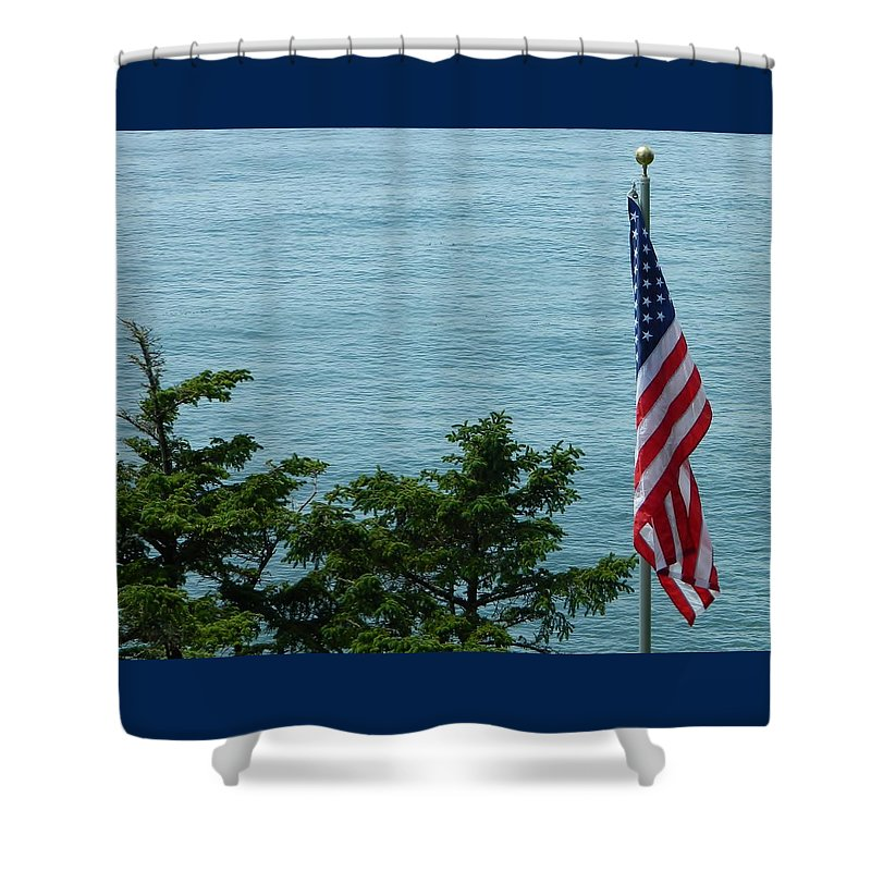 Oregon Shower Curtain featuring the photograph No Wind For Flag by Gallery Of Hope