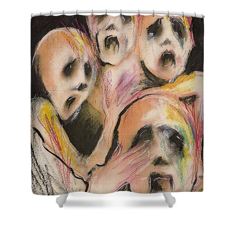 War Cry Tears Horror Fear Darkness Shower Curtain featuring the mixed media No Words by Veronica Jackson