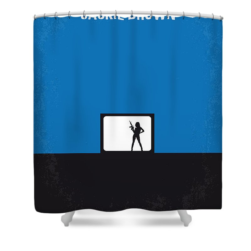 Jackie Shower Curtain featuring the digital art No044 My Jackie Brown Minimal Movie Poster by Chungkong Art