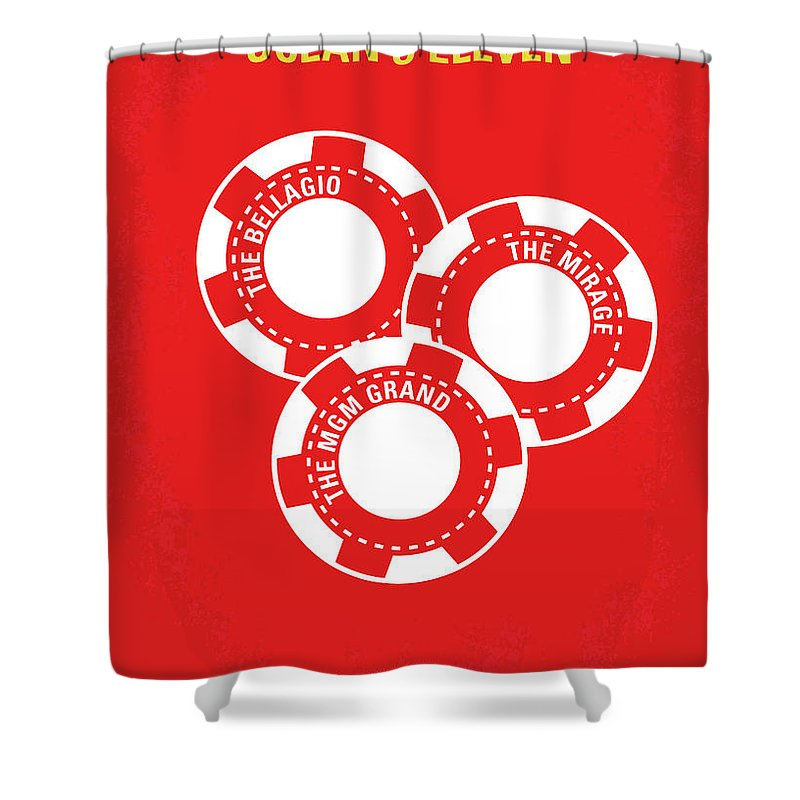 Ocean's Shower Curtain featuring the digital art No056 My Oceans 11 Minimal Movie Poster by Chungkong Art