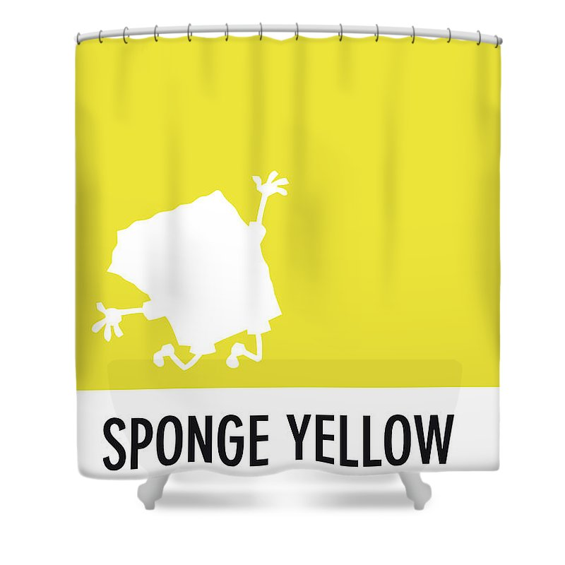 Looney Shower Curtain featuring the digital art No10 My Minimal Color Code Poster Spongebob by Chungkong Art