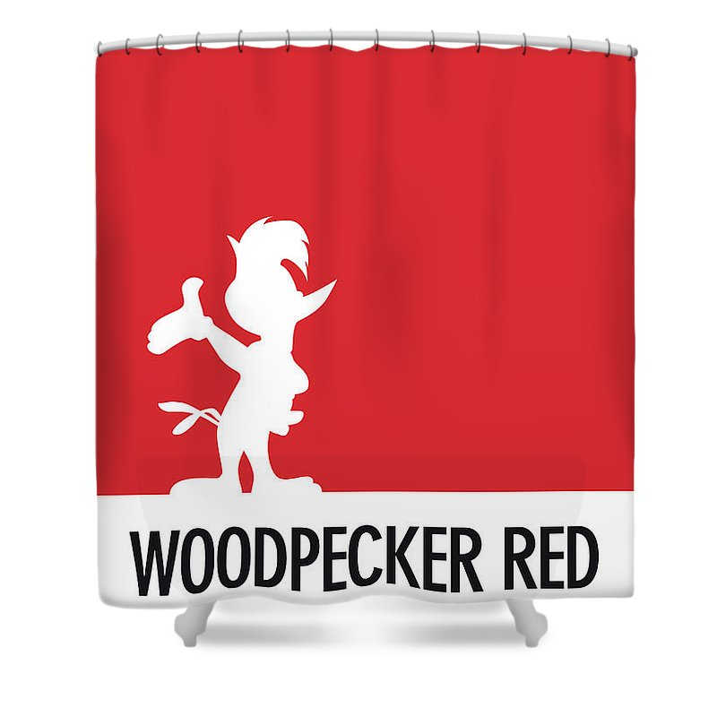 Looney Shower Curtain featuring the digital art No12 My Minimal Color Code Poster Woody Woodpecker by Chungkong Art