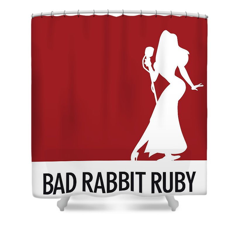 Looney Shower Curtain featuring the digital art No14 My Minimal Color Code Poster Jessica Rabbit by Chungkong Art