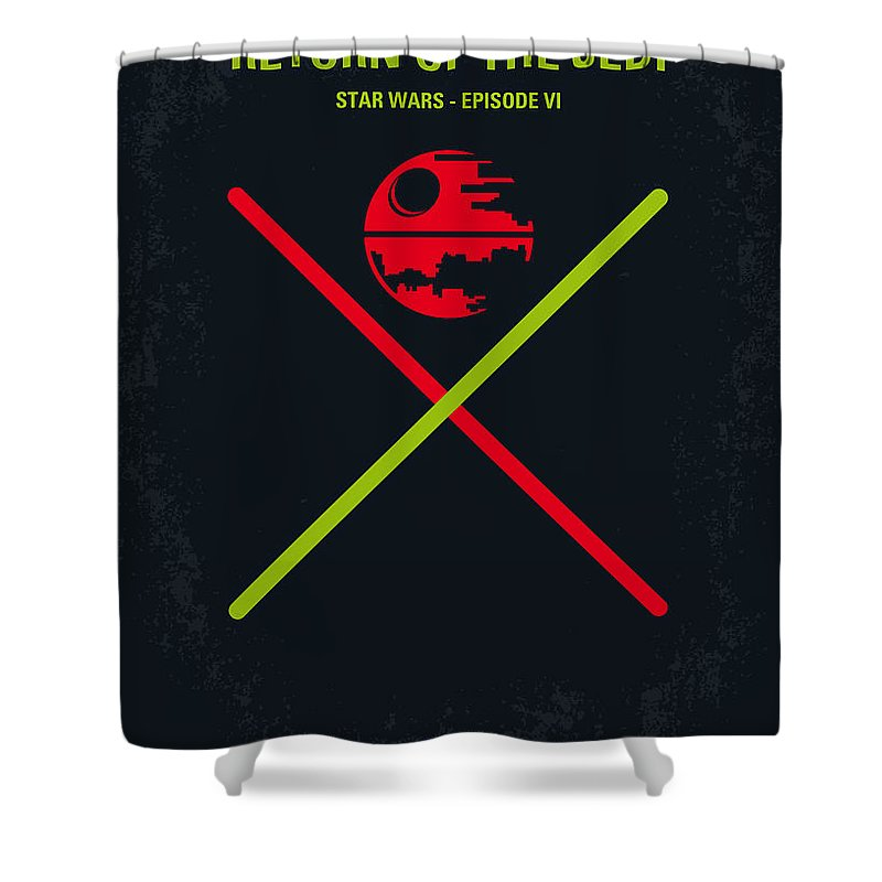 Star Shower Curtain featuring the digital art No156 My STAR WARS Episode VI Return of the Jedi minimal movie poster by Chungkong Art