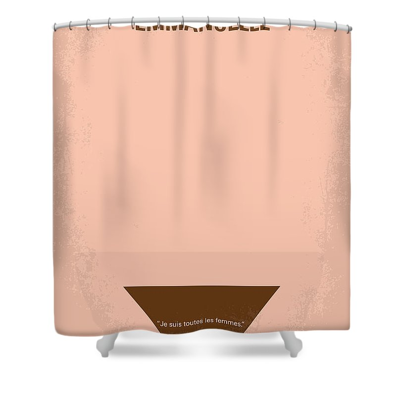 Emanuelle Shower Curtain featuring the digital art No160 My Emmanuelle Minimal Movie Poster by Chungkong Art