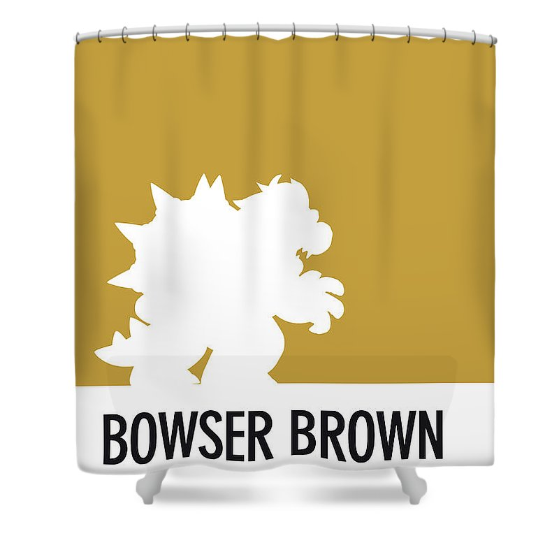 Mario Shower Curtain featuring the digital art No38 My Minimal Color Code Poster Bowser by Chungkong Art