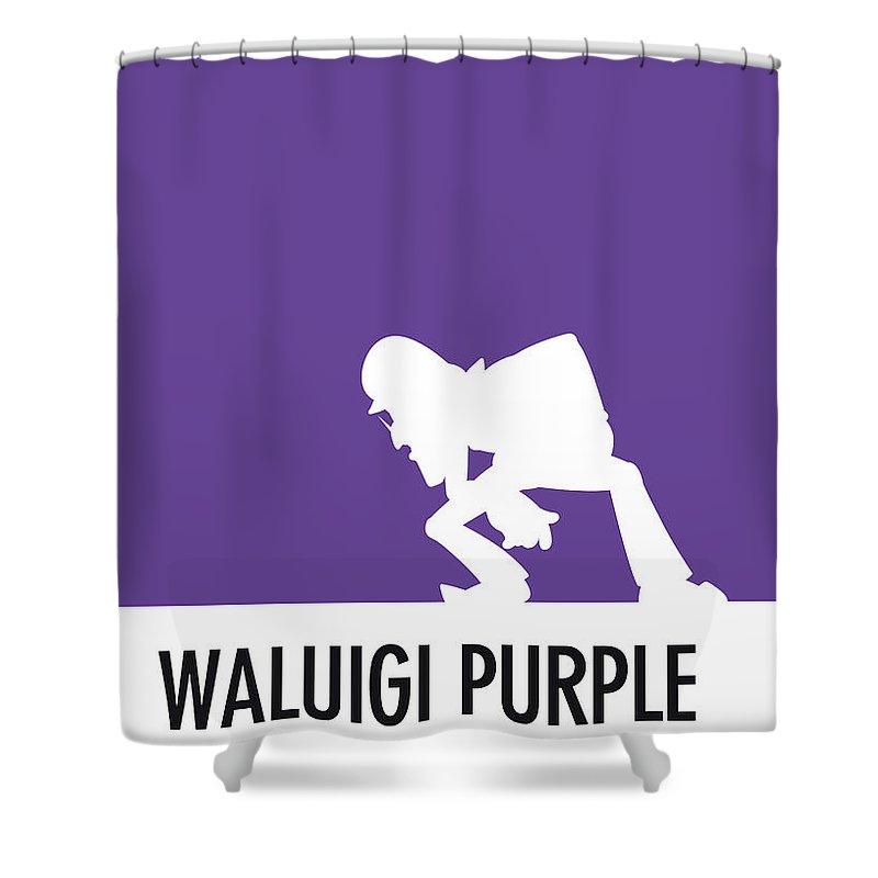 Mario Shower Curtain featuring the digital art No42 My Minimal Color Code Poster Waluigi by Chungkong Art