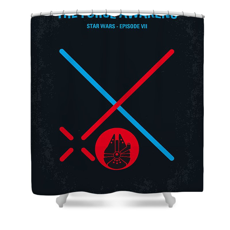 Star Shower Curtain featuring the digital art No591 My STAR WARS Episode VII THE FORCE AWAKENS minimal movie poster by Chungkong Art