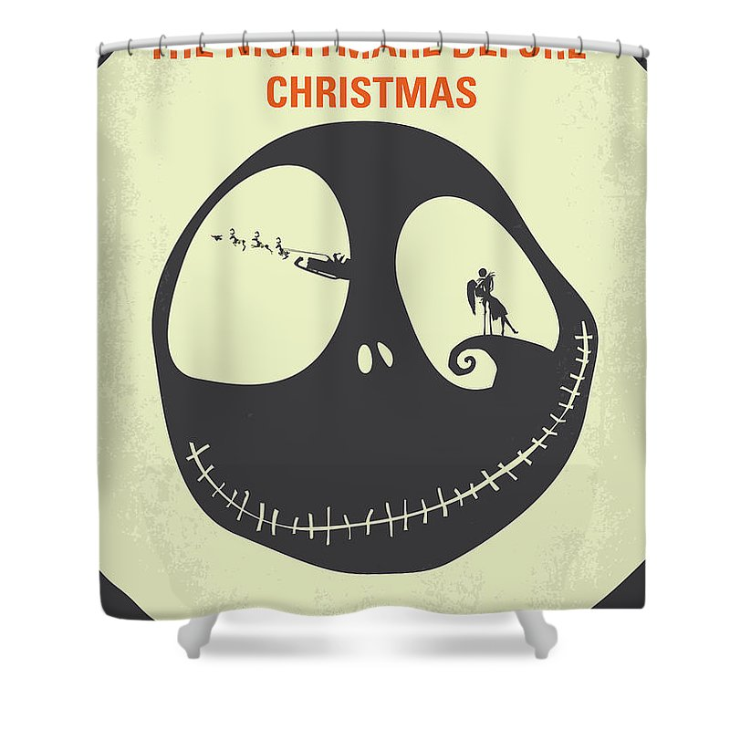 The Shower Curtain Featuring Digital Art No712 My Nightmare Before Christmas Minimal Movie Poster