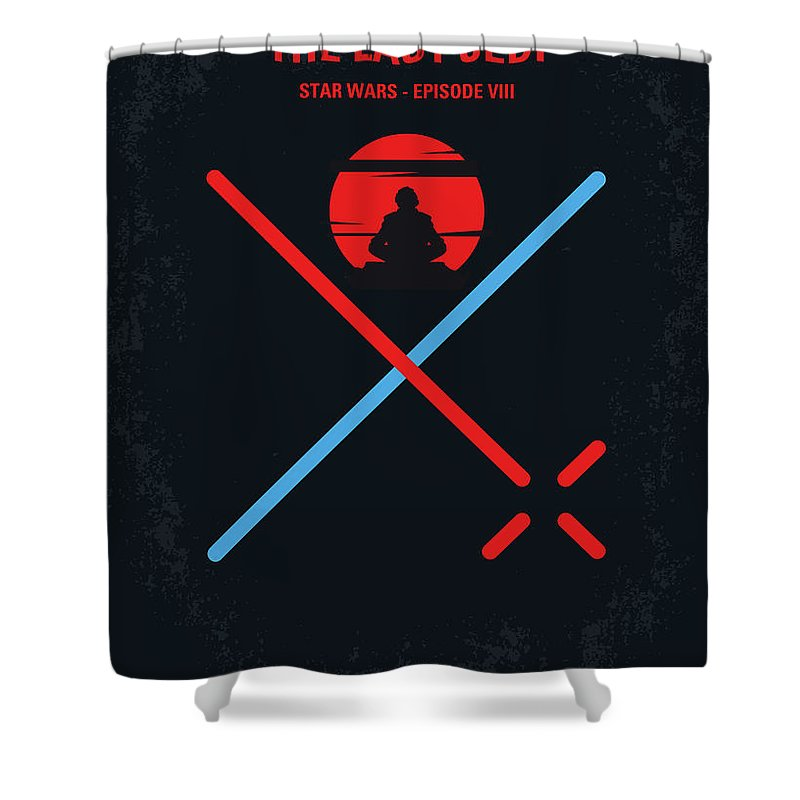 Star Shower Curtain featuring the digital art No940 My STAR WARS Episode VIII The Last Jedi minimal movie poster by Chungkong Art