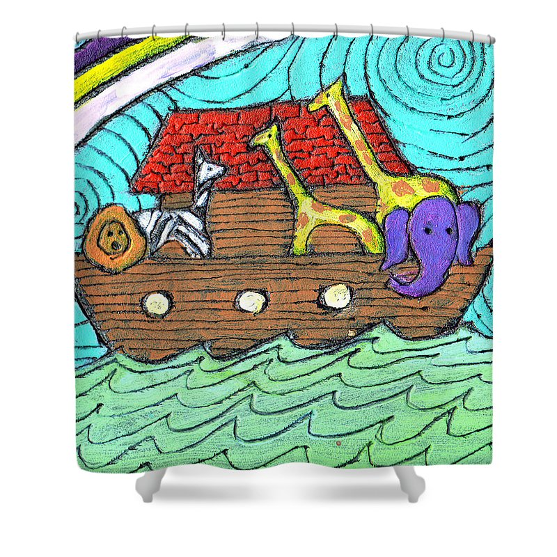 Children's Shower Curtain featuring the painting Noahs Ark Two by Wayne Potrafka