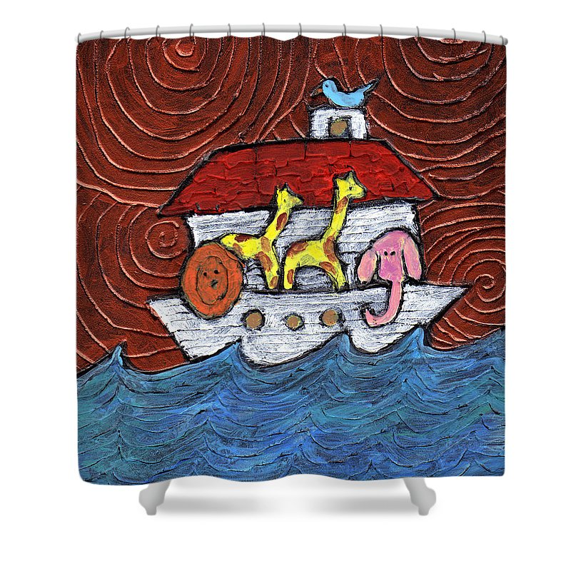 Noah Shower Curtain featuring the painting Noahs Ark With Blue Bird by Wayne Potrafka