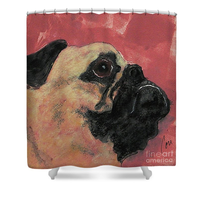 Pug Shower Curtain featuring the mixed media Noble Intentions by Cori Solomon