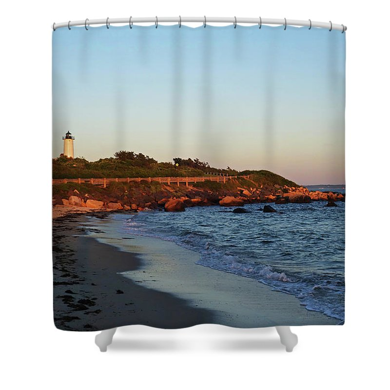 Falmouth Shower Curtain Featuring The Photograph Nobska Light From Woods Hole Beach Ma Cape Cod
