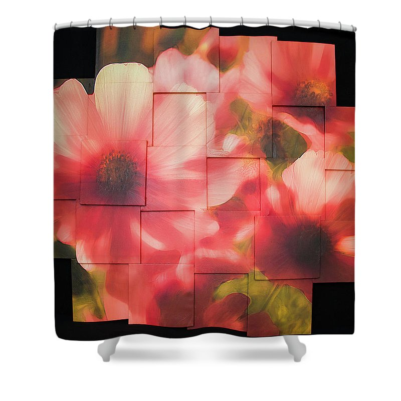 Flower Shower Curtain featuring the sculpture Nocturnal Pinks Photo Sculpture by Michael Bessler