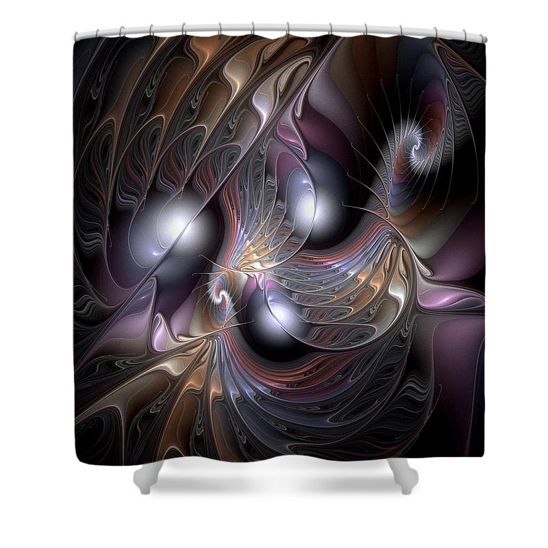 Abstract Shower Curtain featuring the digital art Nocturne For New Orleans by Casey Kotas