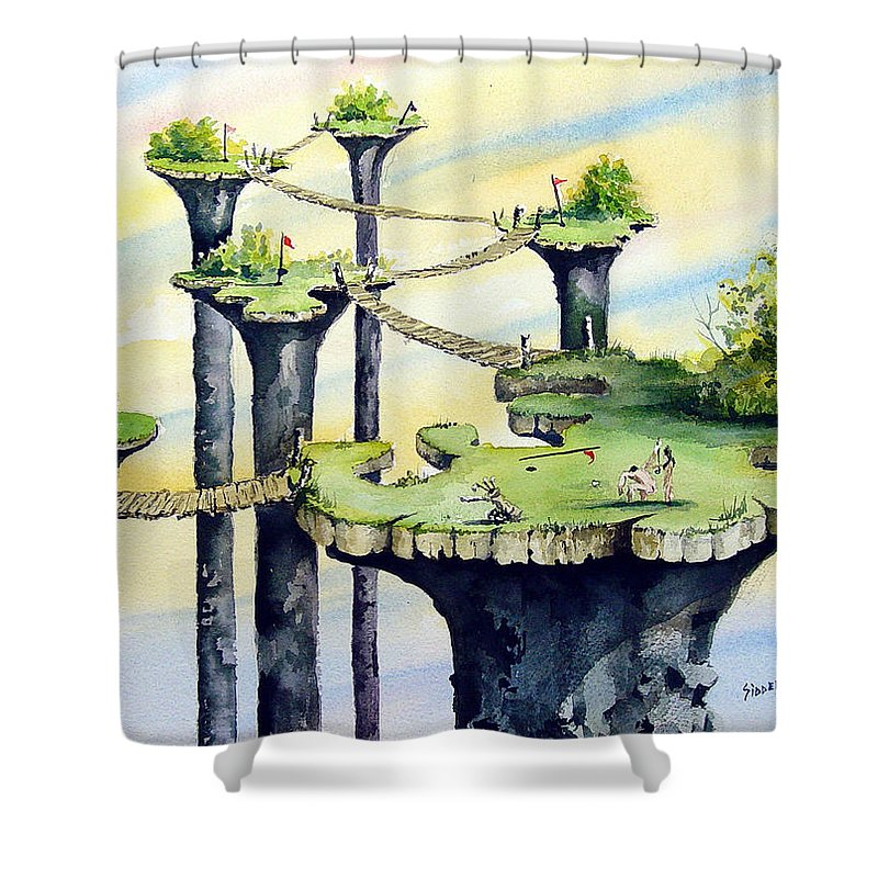 Golf Shower Curtain featuring the painting Nod Country Club by Sam Sidders
