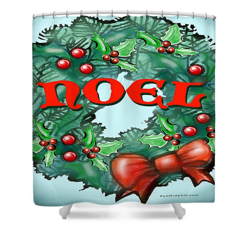 Noel Shower Curtain featuring the greeting card Noel by Kevin Middleton