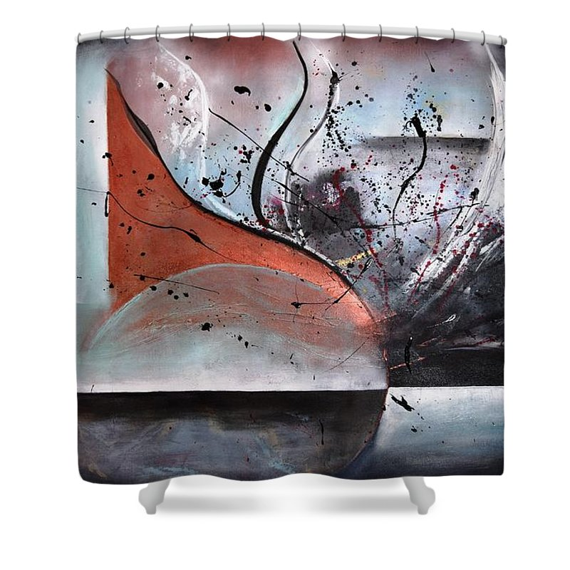 Original Acrylic Painting On Canvas Shower Curtain featuring the painting Noise by Adrianna Tarsha - McMillan
