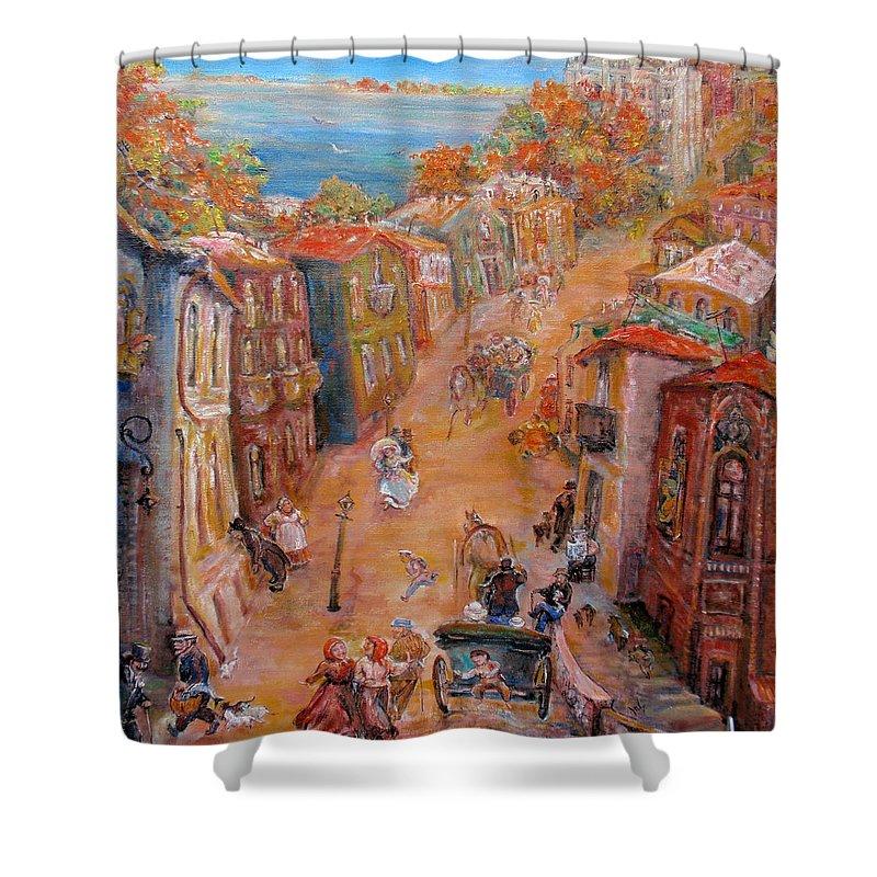 Street Shower Curtain featuring the painting Noisy Street by Natalia Tsariova