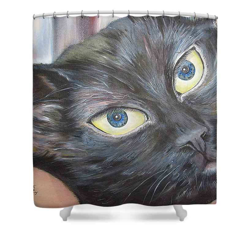 Cat Paintings Shower Curtain featuring the painting Nomi Chan by Ann Willmore