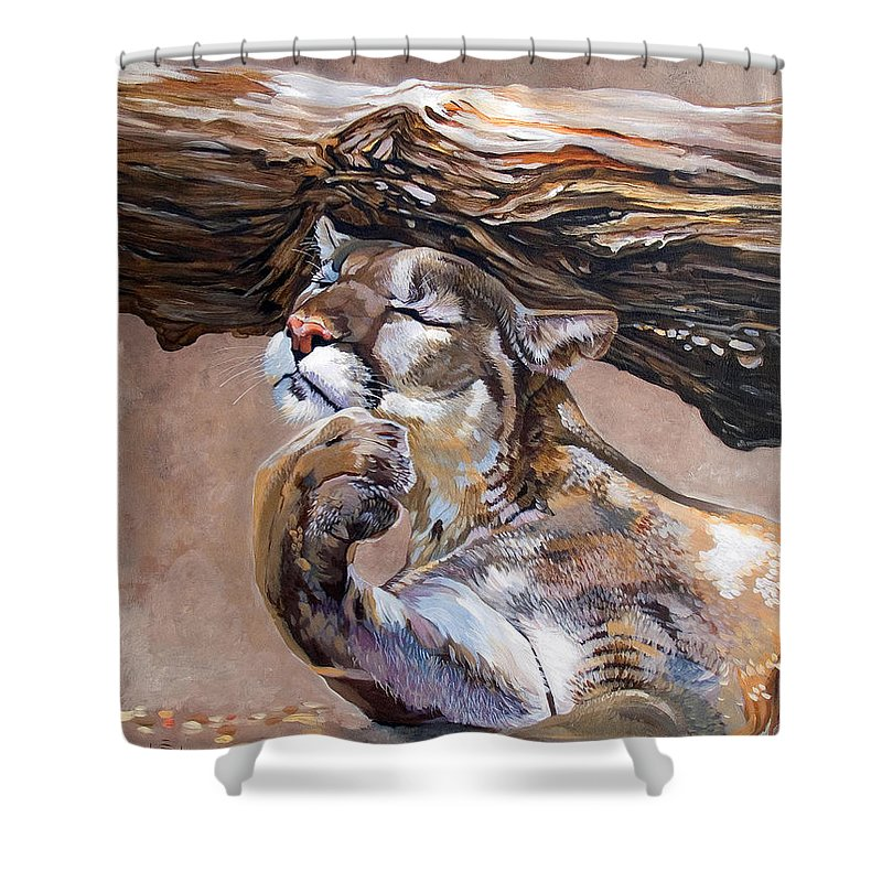 Catamount Shower Curtain featuring the painting Nonchalant by J W Baker