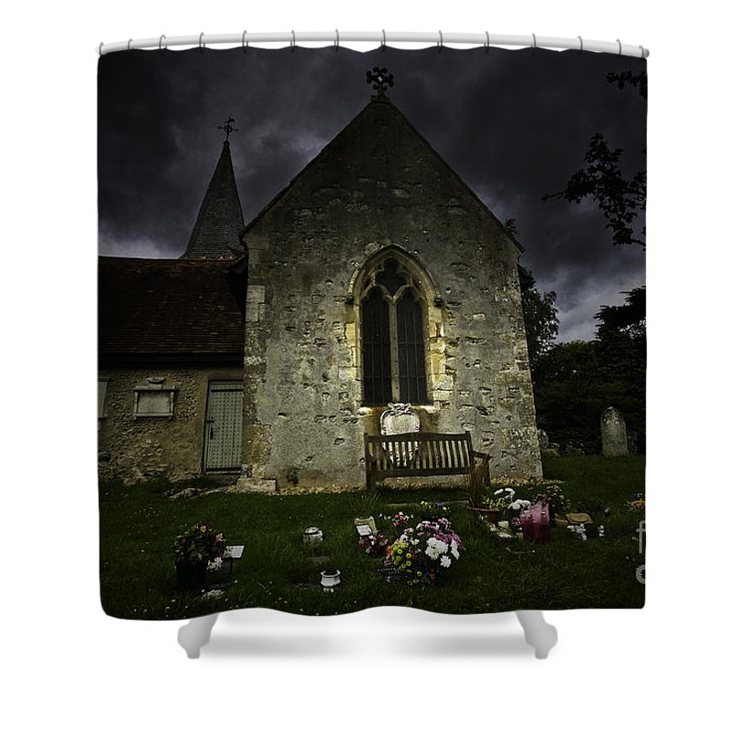 Church Shower Curtain featuring the photograph Norman Church At Lissing Hampshire England by Avalon Fine Art Photography