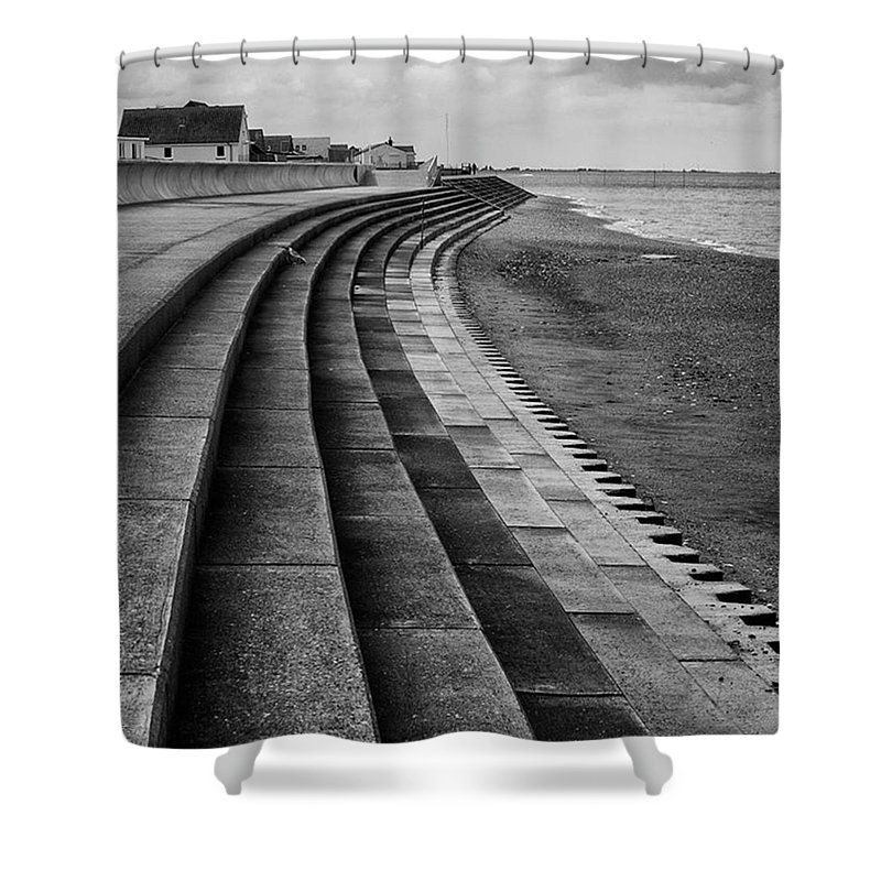 Monochromephotography Shower Curtain featuring the photograph North Beach, Heacham, Norfolk, England by John Edwards