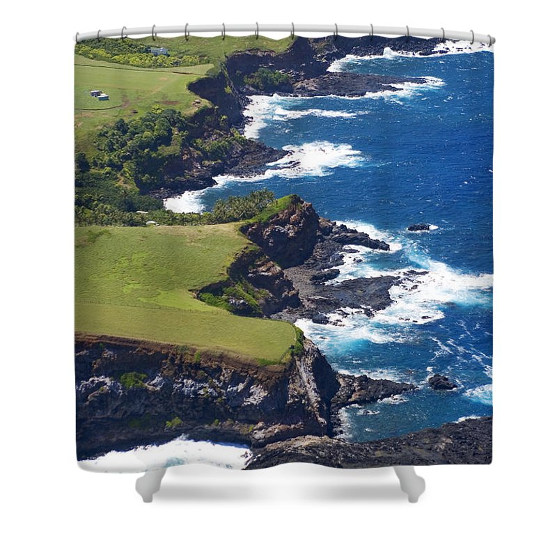Aerial Shower Curtain featuring the photograph North Coast Of Maui by Ron Dahlquist - Printscapes