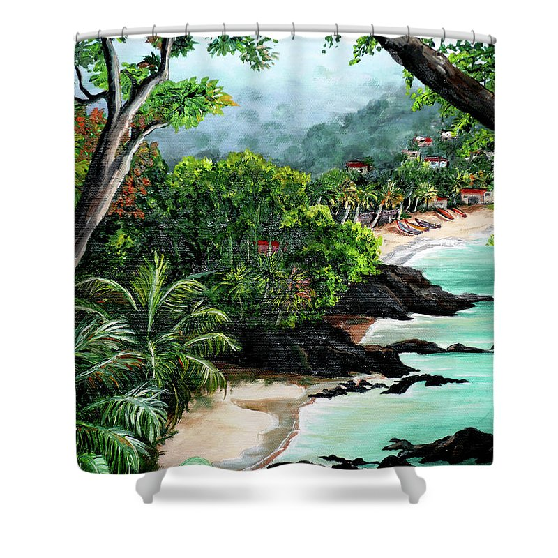 Caribbean Painting Tropical Painting Shower Curtain featuring the painting North Coast Tobago by Karin Dawn Kelshall- Best