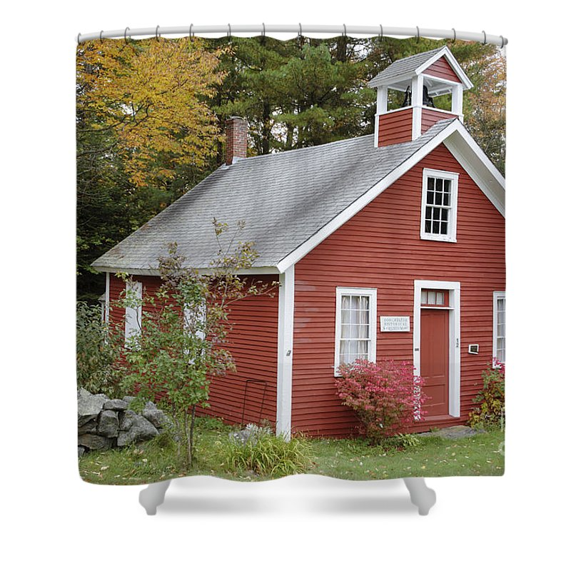 New Hampshire Shower Curtain featuring the photograph North District School House - Dorchester New Hampshire by Erin Paul Donovan