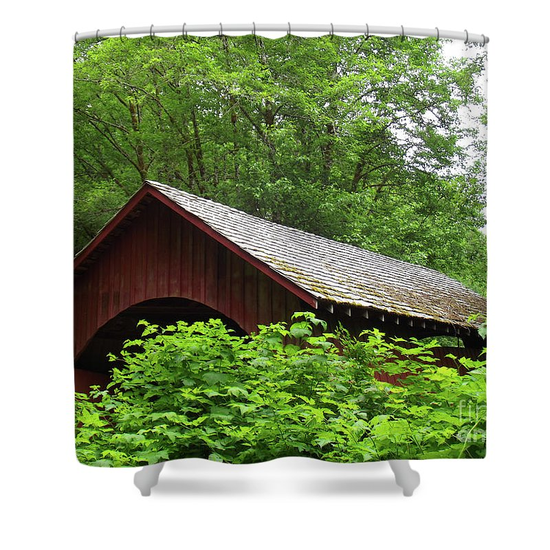 North Fork Yachats Bridge 1 Shower Curtain featuring the photograph North Fork Yachats Bridge 1 by Methune Hively