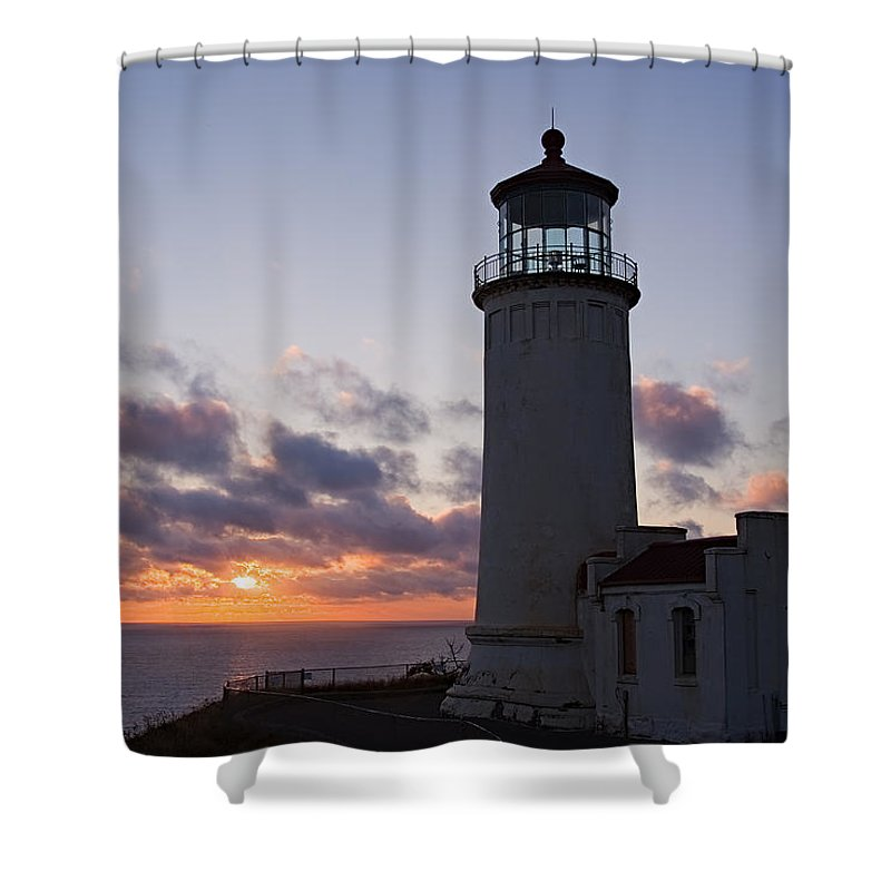 Washington Shower Curtain featuring the photograph North Head Lighthouse by Terry Wieckert