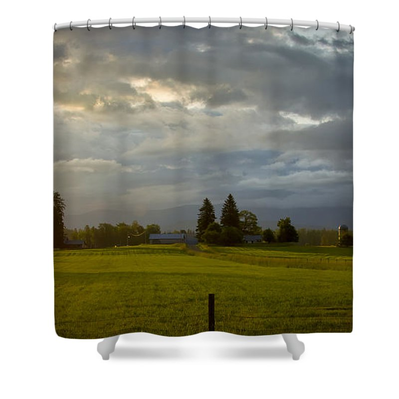 Pastoral Shower Curtain featuring the photograph North Idaho Sunrise by Albert Seger