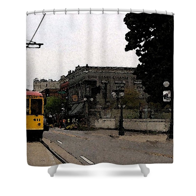 Trolley Shower Curtain featuring the digital art North Little Rock Argenta District by David McGhee