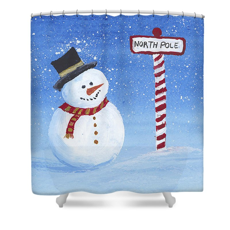 Darice Shower Curtain featuring the painting North Pole by Darice Machel McGuire