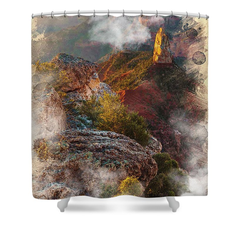 Decoration Shower Curtain featuring the digital art North Rim Of The Grand Canyon by Don Kuing