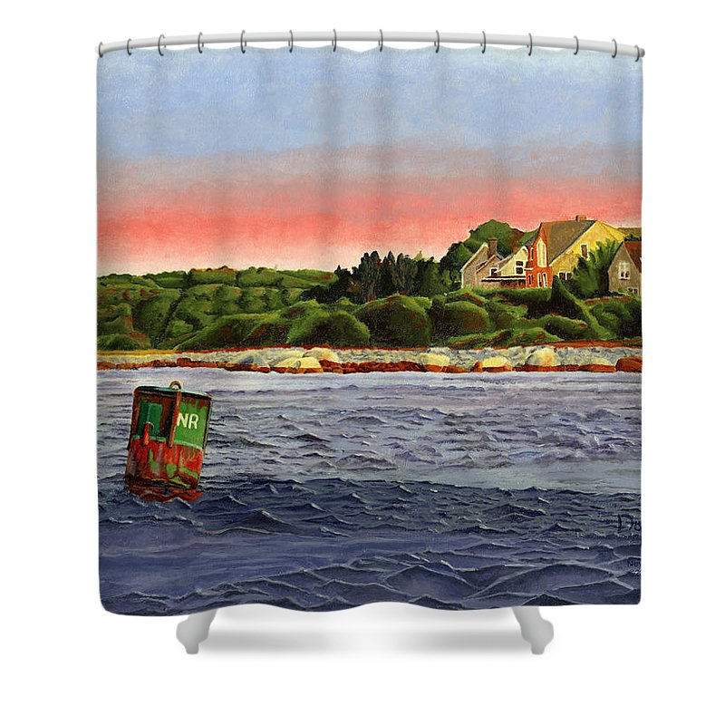 River Shower Curtain featuring the painting North River At Sunset by Dominic White