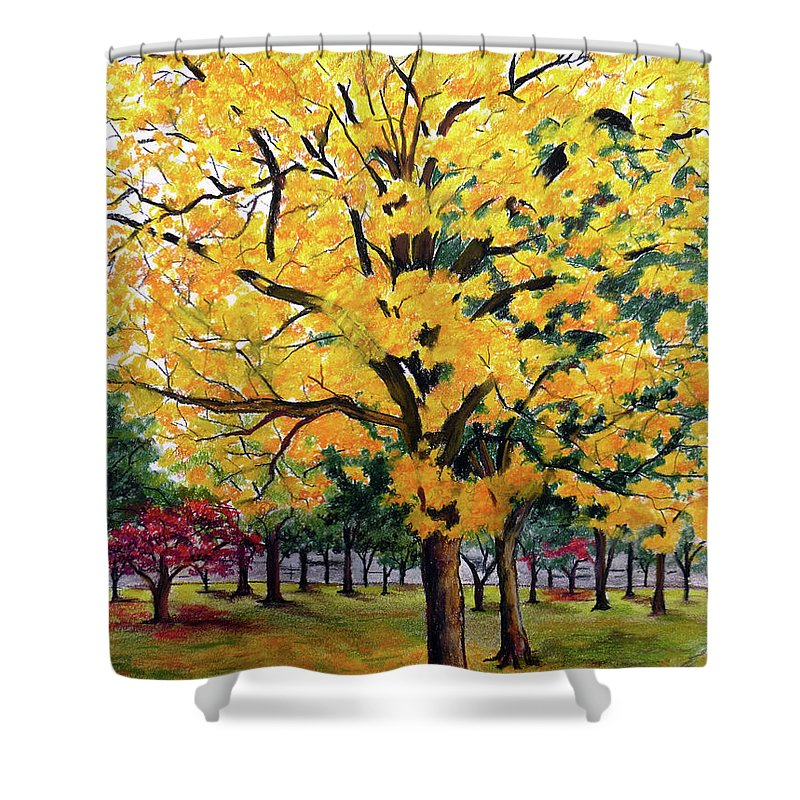 Yellow Poui Shower Curtain featuring the pastel North Savannah Poui by Karin Dawn Kelshall- Best