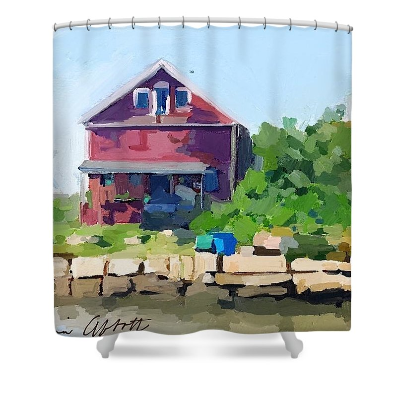 Reed's Wharf Shower Curtain featuring the painting North Shore Art Association At Reed's Wharf by Melissa Abbott