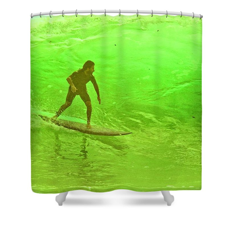 Surf Shower Curtain featuring the photograph North Shore Green by Mike Judice
