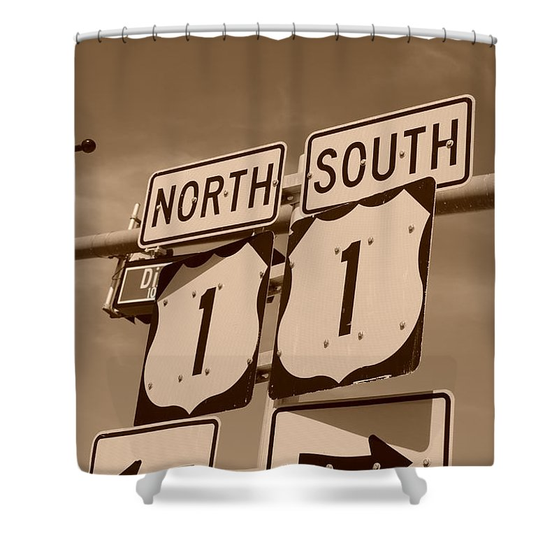 Sepia Shower Curtain featuring the photograph North South 1 by Rob Hans